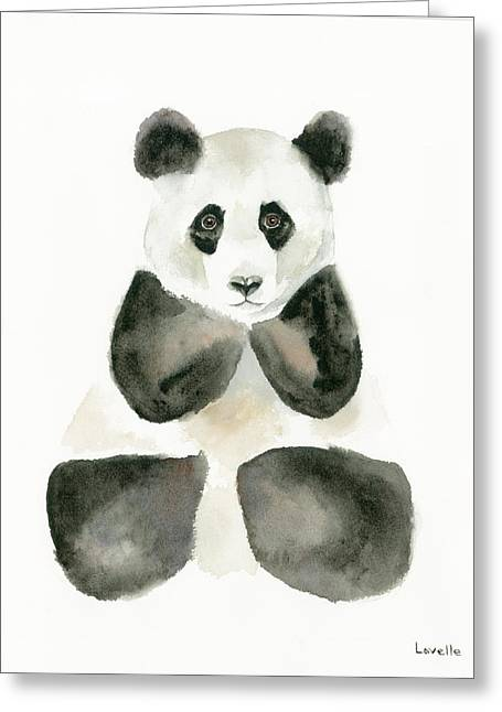 Pensive Panda Greeting Card by Kimberly Lavelle