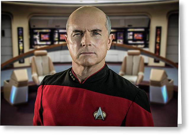 Pensive Picard Greeting Card by Randy Turnbow
