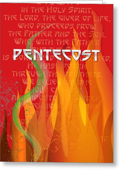 Pentecost Greeting Cards - Pentecost Fires Greeting Card by Chuck Mountain