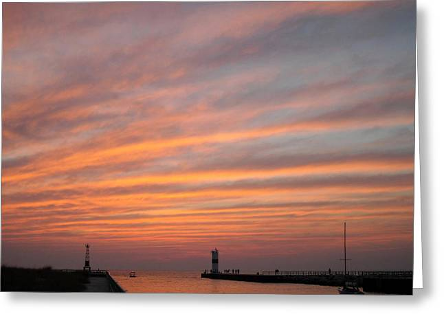 Pentwater Pier Lighthouse Greeting Card by Penny Hunt