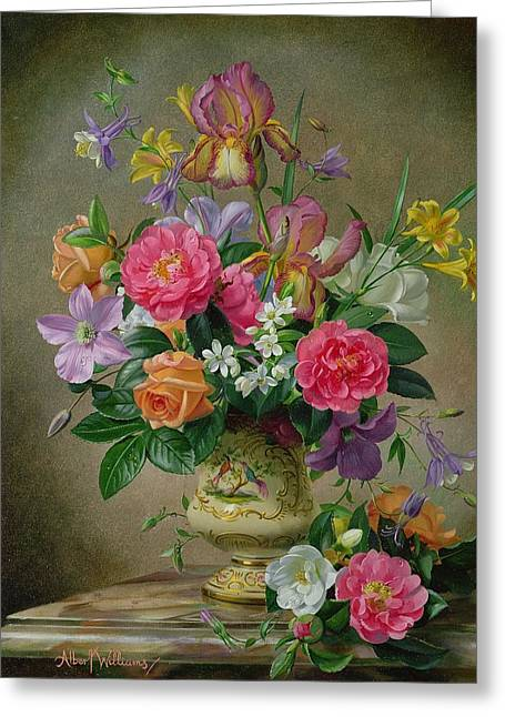 Peonies And Irises In A Ceramic Vase Greeting Card by Albert Williams