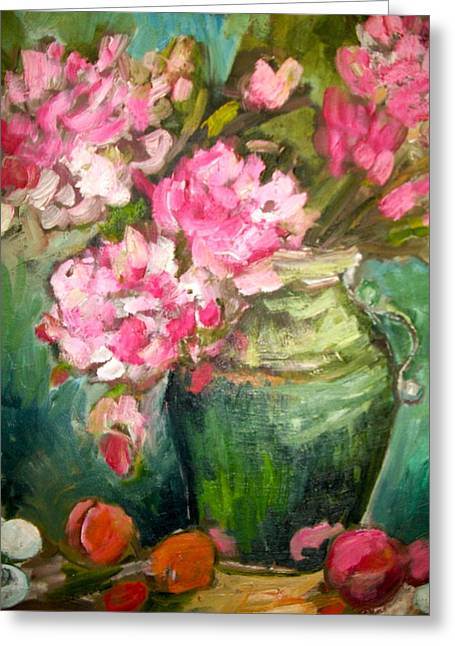 Peonies And Peaches Greeting Card by Carol Mangano