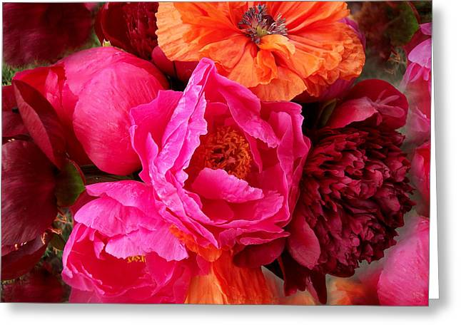 Peonies And Poppies Vibrant Bouquet Greeting Card by Rebecca Overton