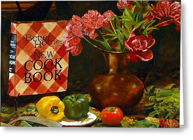 Greeting Card featuring the painting Peonies And Recipes by Rick Fitzsimons