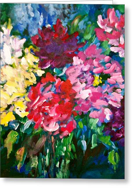 Peonies Greeting Card by Carol Mangano