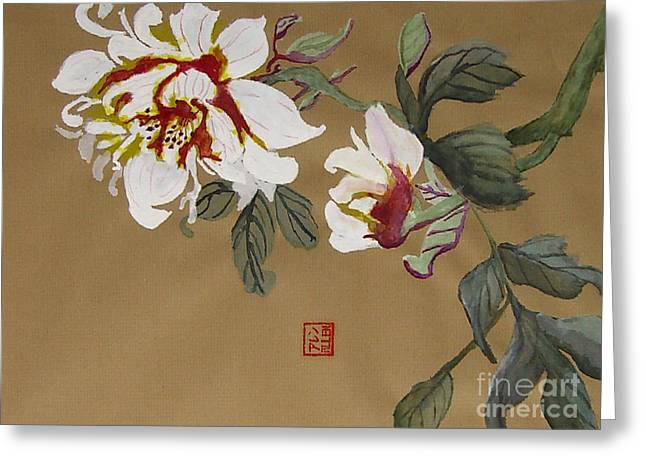 Peonies Chinese Watercolor Art Greeting Card by Merton Allen