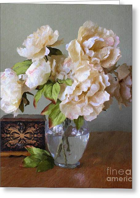 Peonies In Glass Vase Greeting Card by Susan Schroeder