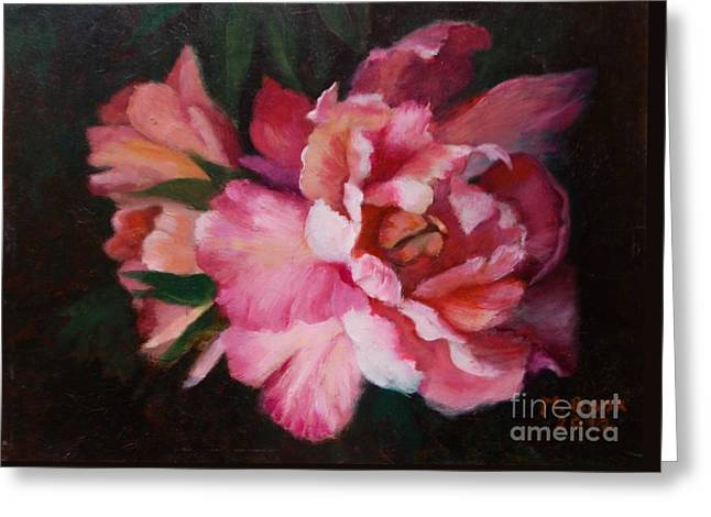 Peonies No 8 The Painting Greeting Card