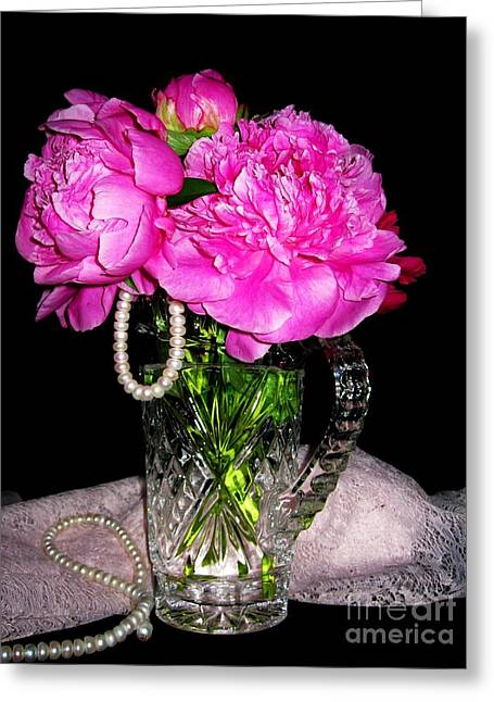 Peonies Pearls Lace And Crystal Greeting Card by Margaret Newcomb