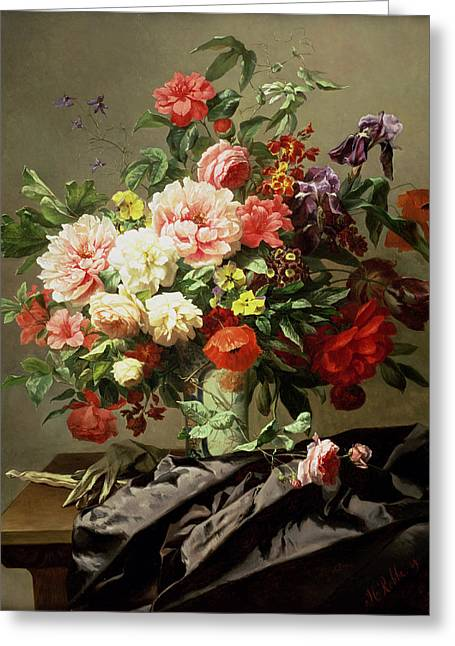 Peonies, Poppies And Roses, 1849 Greeting Card by Henri Robbe