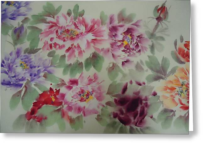 Peony  0725-5 Greeting Card by Dongling Sun
