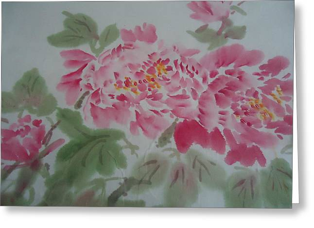 Peony 1 Greeting Card by Dongling Sun