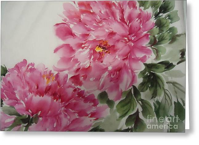 Greeting Card featuring the painting Peony-3-25 by Dongling Sun