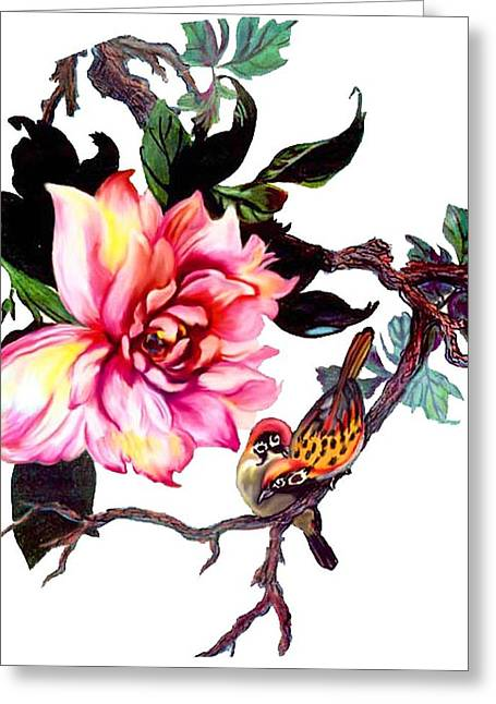 Peony And Birds Greeting Card