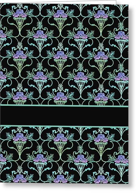 Peony Damask On Black Greeting Card