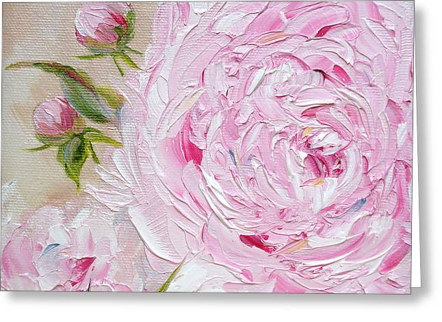 Greeting Card featuring the painting Peony by Judith Rhue