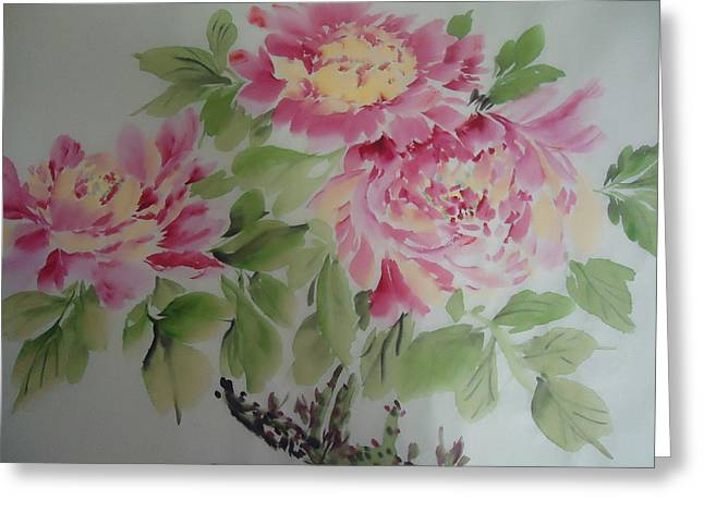 Peony015 Greeting Card by Dongling Sun