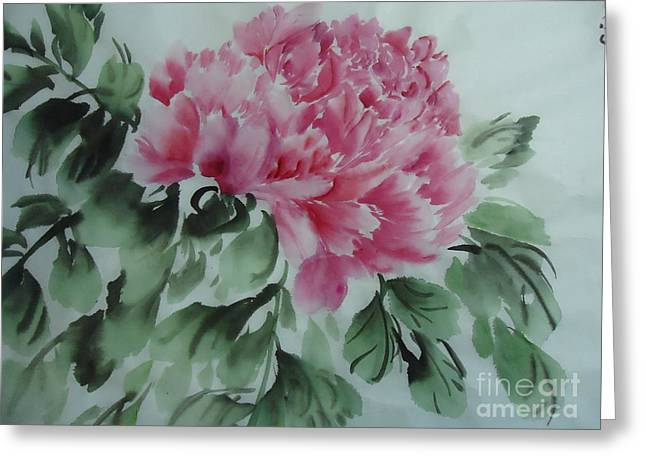 Greeting Card featuring the painting Peony425012-9 by Dongling Sun