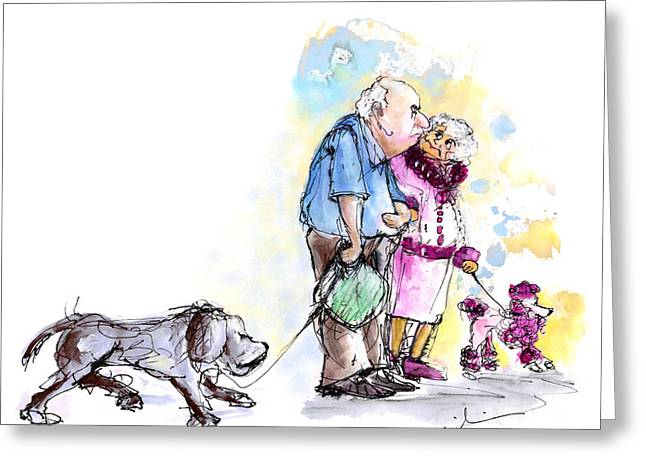 People And Their Dogs 02 Greeting Card by Miki De Goodaboom