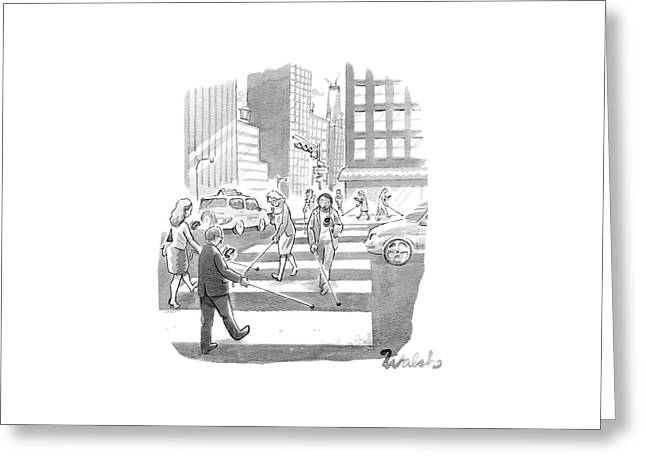 People Are Crossing The Street Looking Greeting Card by Liam Walsh