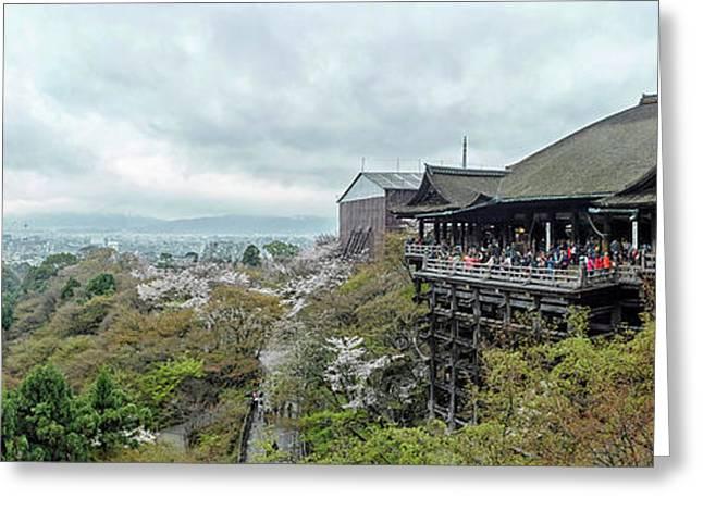 People At Kiyomizu-dera Temple, Kyoto Greeting Card by Panoramic Images