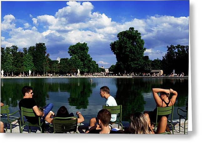 People At Pond Side, Jardin Des Greeting Card by Panoramic Images