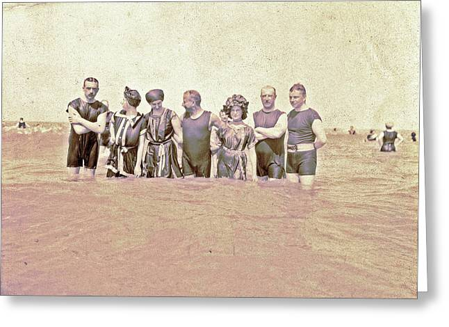 People At Sea, North Sea, The Netherlands Or Germany Greeting Card
