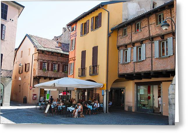 People At Sidewalk Cafe, Piazza San Greeting Card by Panoramic Images