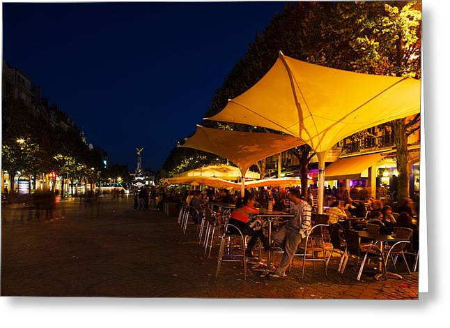 People At Sidewalk Cafes In A City Greeting Card by Panoramic Images