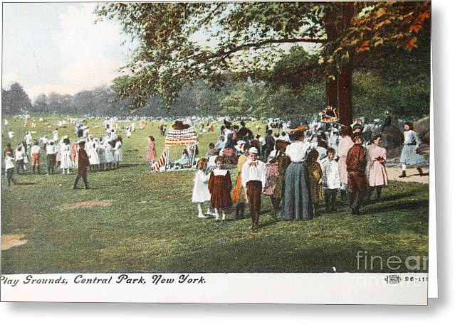 People At The Playground In Central Park Circa 1910 On Ancient P Greeting Card