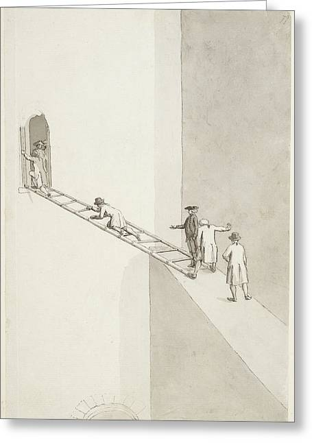 People Climbing Across A Gap Greeting Card by British Library