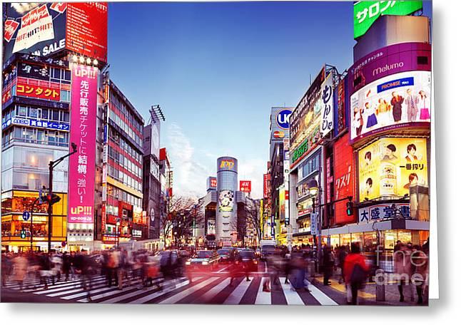 People Crossing Street In Shibuya Tokyo Greeting Card