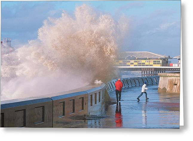 People Dodging Storm Waves Greeting Card