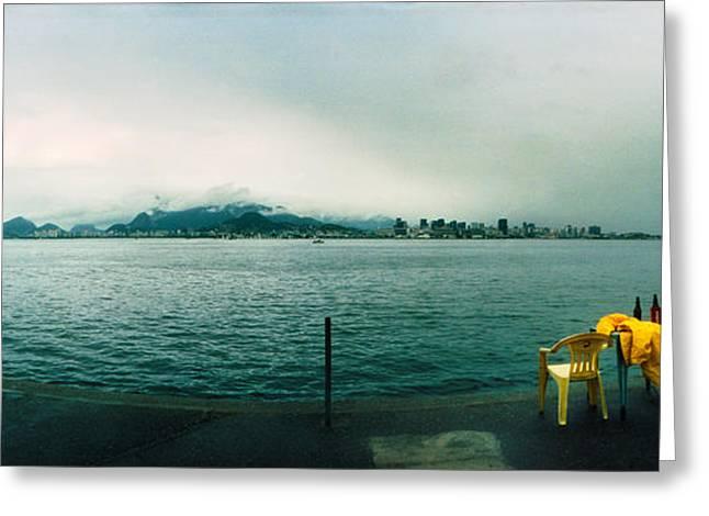 People Fishing, Guanabara Bay, Niteroi Greeting Card by Panoramic Images