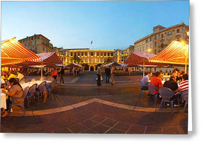 People Having Outdoor Dining Greeting Card by Panoramic Images