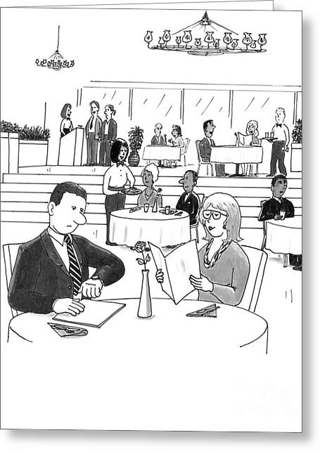 People In A Busy Restaurant Greeting Card