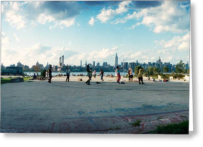 People In A Park, East River Park, East Greeting Card by Panoramic Images