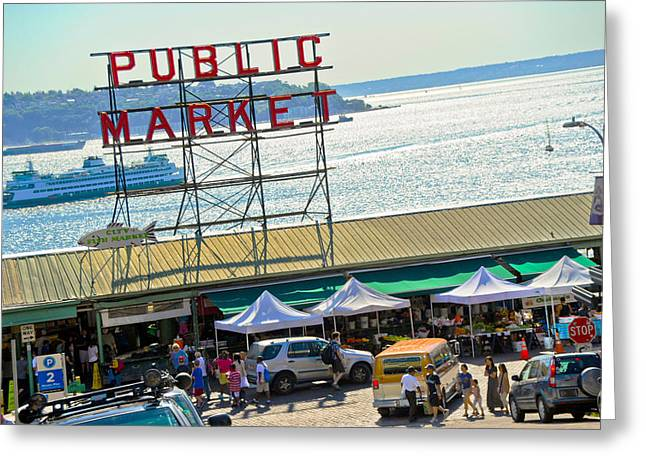 People In A Public Market, Pike Place Greeting Card by Panoramic Images
