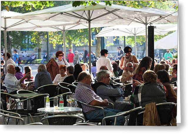 People In Cafes On The Alameda Del Greeting Card