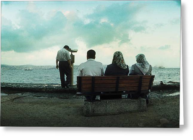 People Looking Out On The Bosphorus Greeting Card