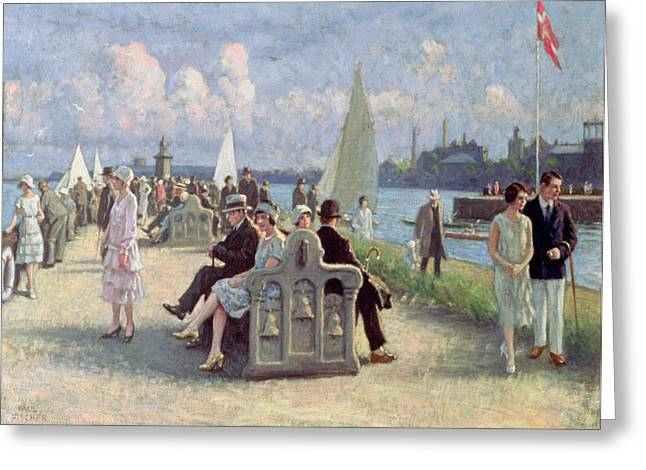 People On A Promenade Oil On Canvas Greeting Card by Paul Fischer