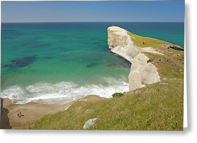 People On Cliff Top At Tunnel Beach Greeting Card by David Wall