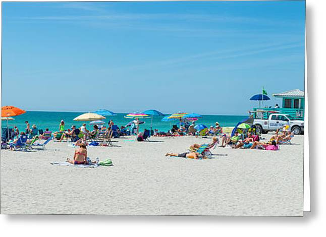 People On The Beach, Venice Beach, Gulf Greeting Card by Panoramic Images