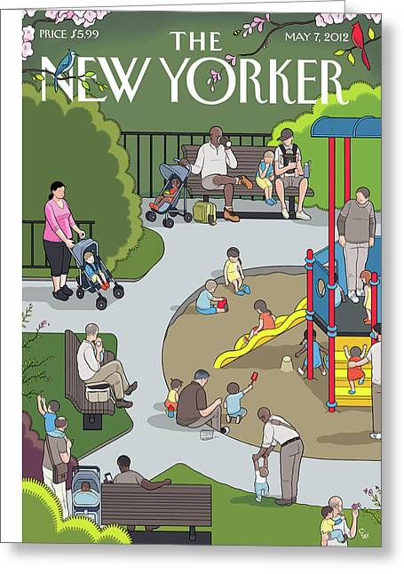 People Playing At A Playground Withtheir Kids Greeting Card by Chris Ware