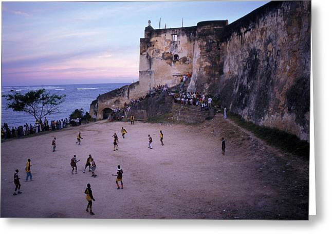 People Playing Soccer, Fort Jesus Greeting Card