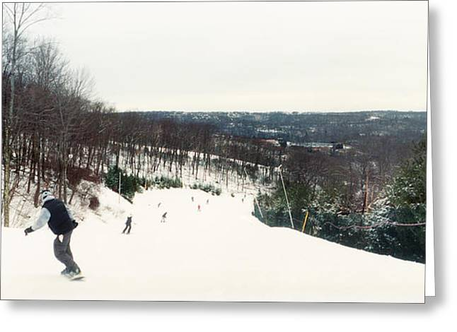 People Skiing And Snowboarding Greeting Card by Panoramic Images