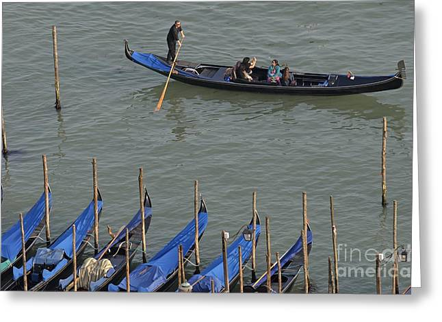 People Touring Venice In Gondola Greeting Card by Sami Sarkis