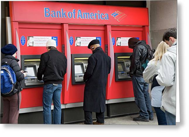 People Using Cash Machines Greeting Card by Jim West