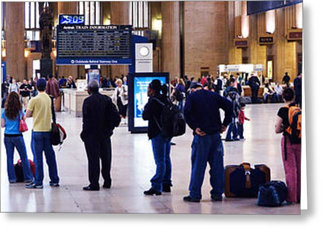 People Waiting In A Railroad Station Greeting Card by Panoramic Images