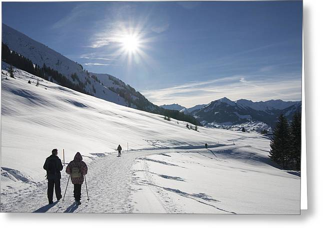 People Walking In Beautiful Sunny Winter Landscape In The Alps With Lots Of Snow Greeting Card by Matthias Hauser